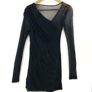 Rag & Bone Dark Gray Silk Mesh Mini Dress